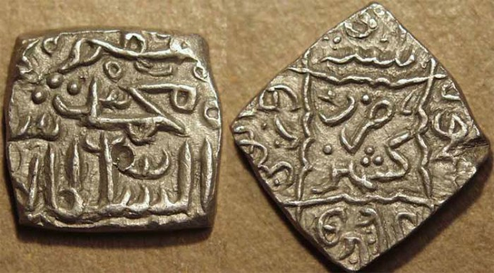 Ancient Coins - INDIA, KASHMIR SULTANS, Muhammad Shah (1484-1537, in 5 reigns) Silver sasnu. SCARCE + SUPERB!
