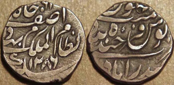 Ancient Coins - INDIA, HYDERABAD, Mir Mahbub Ali Khan (1868-1911) Silver 1/2 rupee ino Asaf Jah, Hyderabad, AH 1286. CHOICE!