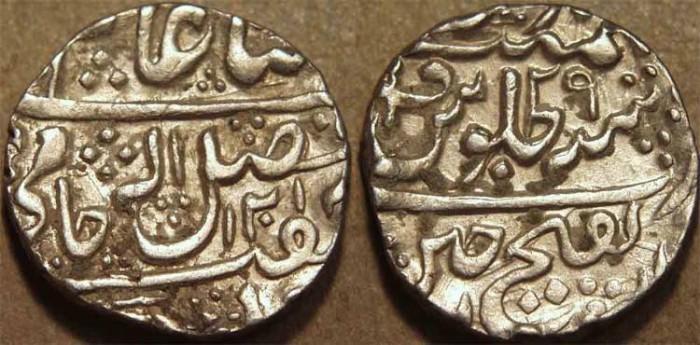World Coins -  INDIA, GWALIOR, Mahadji Rao (1761-94) Silver rupee in the name of Shah Alam II, Ujjain, AH 1201, RY 29. CHOICE!