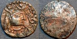 Ancient Coins - INDIA, ALCHON HUNS in Kashmir, Anonymous Base Silver drachm, SCARCE and CHOICE!