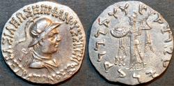 Ancient Coins - Indo-Greek: Strato I AR tetradrachm: helmeted type. RARE and SUPERB!