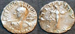 Ancient Coins - INDO-GREEK: Menander I Silver drachm, spearthruster type with Athena right. SCARCE!