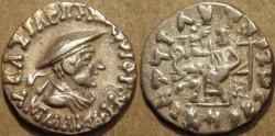 Ancient Coins - INDO-GREEK: Antialcidas (or Antialkidas) AR drachm: bust with kausia. CHOICE!