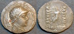 Ancient Coins - BACTRIA (BAKTRIA): Heliocles (Heliokles) I AR Attic drachm with enthroned Zeus, RARE & CHOICE!