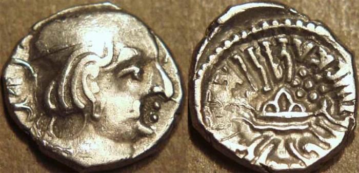 Ancient Coins - INDIA, INDIA, WESTERN KSHATRAPAS: Yasodaman II (315-332 CE) Silver drachm, year S. 249. SCARCE!