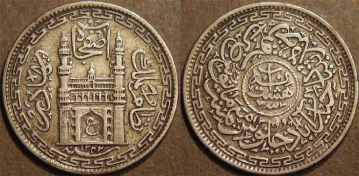 Ancient Coins - INDIA, HYDERABAD, Mir Usman Ali Khan (1911-48) First Series Silver 8 annas (1/2 rupee), Hyderabad, AH 1342, RY 13. SUPERB!