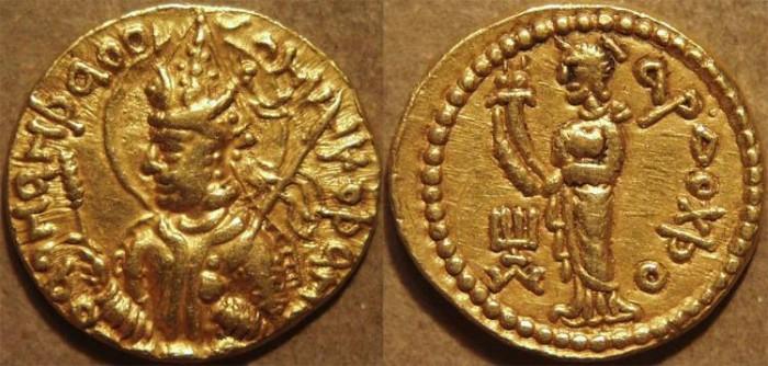 Ancient Coins - INDIA: KUSHAN, Huvishka AV dinar, Ardochsho (Lakshmi) reverse. SCARCE and SUPERB!