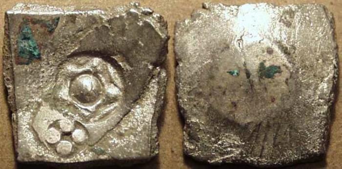 Ancient Coins - INDIA, SHAKYA janapada, c. 5th century BCE, Silver 5-shana, Hirano I.2 type (pentagonal). RARE & CHOICE!