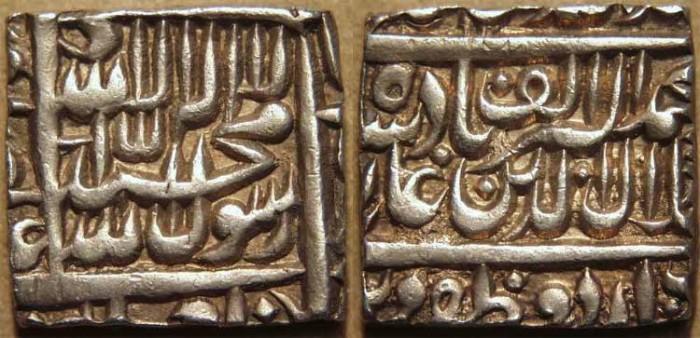World Coins - INDIA,MUGHAL, Jalal-ud-din Muhammad Akbar (1556-1605) AR rupee, Urdu Zafar Qarin, SUPERB!