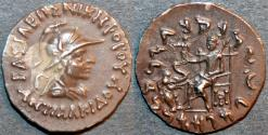 Ancient Coins - INDO-GREEK: Antialkidas (Antialcidas) AR drachm: helmeted bust. SUPERB!