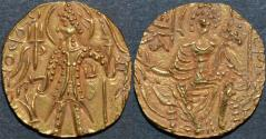 Ancient Coins - INDIA, KUSHAN, Shaka: Gold dinar with pa under arm. RARE and SUPERB!
