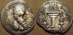 Ancient Coins - SASANIAN: Ardeshir I (226-240) Silver drachm, early Parthian style crown. RARE!