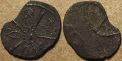 "Ancient Coins - INDIA, KADAMBAS of BANAVASI: ""Sri Manarashi"" potin unit. RARE!"