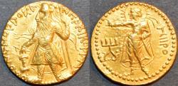 Ancient Coins - INDIA: KUSHAN, Kanishka I Gold dinar, Miiro reverse, RARE and SUPERB!