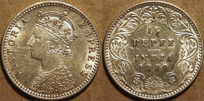 Ancient Coins - BRITISH INDIA, Victoria Silver 1/4 rupee, Bombay mint, 1889. SUPERB!