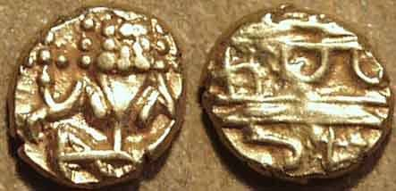 """Ancient Coins - INDIA, KINGDOM OF MYSORE, Krishna Raja Wodeyar (1799-1868): Gold """"Kanthirava"""" fanam with stylized lion's face and partial legend. RARE thus!"""