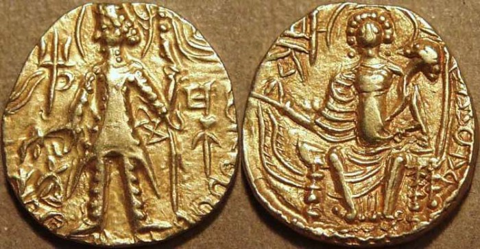 Ancient Coins - INDIA, KUSHAN, Shaka: Gold dinar with Mi and additional kho. SCARCE and CHOICE!
