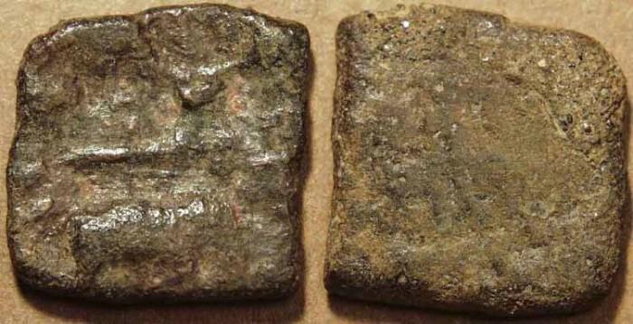 World Coins - INDIA, SANGAM ERA CHERAS: Heavy weight multi-symbol copper unit. VERY RARE!