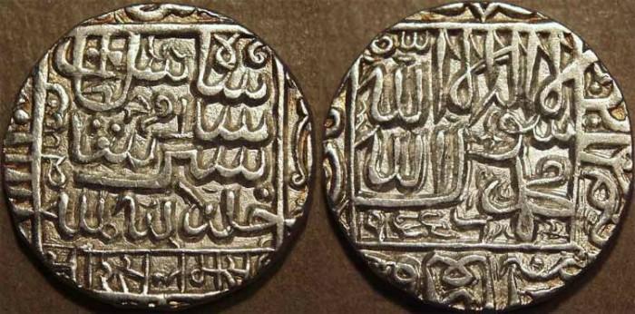 Ancient Coins - INDIA, DELHI SULTANATE, Islam Shah (1545-52) Silver rupee, Chunar, AH 955. SCARCE + SUPERB!