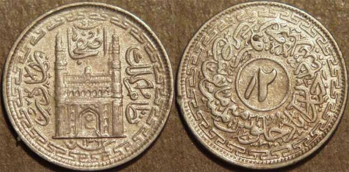 World Coins - INDIA, HYDERABAD, Mir Usman Ali Khan (1911-48) Second Series Silver 2 annas (1/8 rupee), Hyderabad, AH 1362, RY 33. SUPERB!