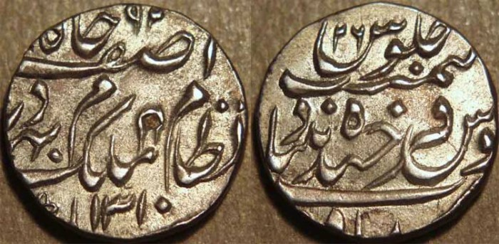 Ancient Coins - INDIA, HYDERABAD, Mir Mahbub Ali Khan (1868-1911) Silver 1/2 rupee ino Asaf Jah, Hyderabad, AH 1310,  RY 26. SUPERB!