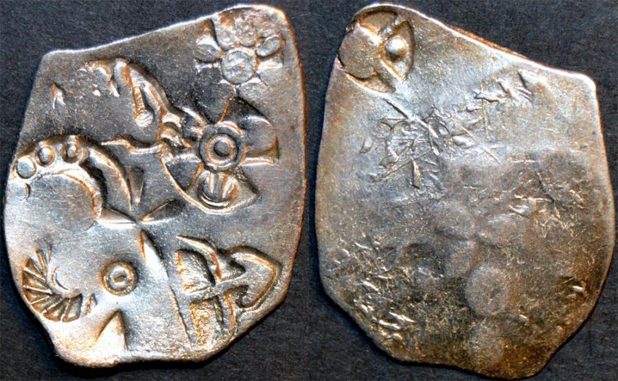 Ancient Coins - INDIA, MAGADHA: Series I AR punchmarked karshapana GH 132. RARE and CHOICE!