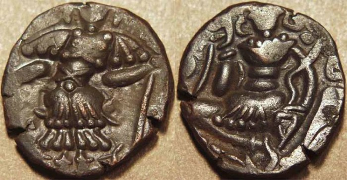 Ancient Coins - INDIA, KARKOTAS of KASHMIR, post-Toramana AE dinar. CHOICE+!