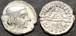 Ancient Coins - INDIA, INDIA, WESTERN KSHATRAPAS: Rudrasimha II (304-316 CE) Silver drachm. CHOICE!
