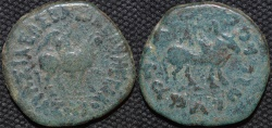 Ancient Coins - INDIA, INDO-SCYTHIAN: Azes I AE dekachalkon: Mounted king/Bull. VERY RARE!