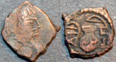 Ancient Coins - INDIA, ALCHON HUNS, Khingila AE unit, Göbl 54. RARE & CHOICE!