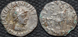 Ancient Coins - Indo-Greek: Antialcidas AR drachm: helmeted bust.