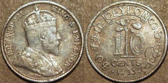 World Coins - SRI LANKA (CEYLON), BRITISH PERIOD, Edward VII Silver 10 cents, 1903. SCARCE!