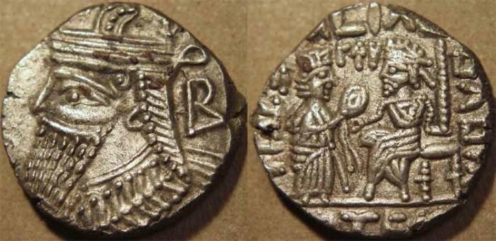 Ancient Coins - PARTHIA, VOLOGASES IV (147-191 CE) Silver tetradrachm, Seleucia, Sell 84.89. SUPERB!