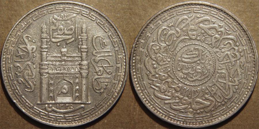 World Coins - INDIA, HYDERABAD, Mir Mahbub Ali Khan (1868-1911) Charminar Series Silver rupee, Hyderabad, AH 1325, RY 41. SUPERB!
