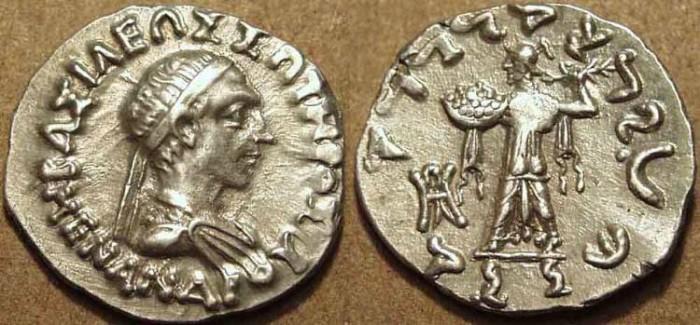 Ancient Coins - Indo-Greek: Menander I AR drachm: CHOICE!