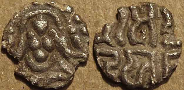 Ancient Coins - INDIA, KALACHURIS of TRIPURI: Gangeya Deva SILVER (!) 9/16 masha. VERY RARE+CHOICE!