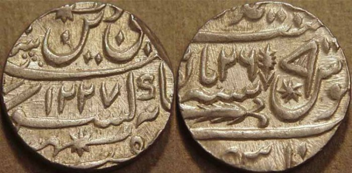 Ancient Coins - INDIA, AWADH: Silver rupee in name of Shah Alam II, Lucknow, AH 1227, RY 26. SUPERB!