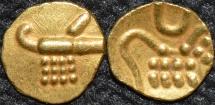 "INDIA, RAJAHS of COCHIN: Anonymous Gold ""Vira Raya"" fanam. Later type. SUPERB!"