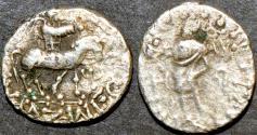 Ancient Coins - INDO-SCYTHIAN, AZES II Silver or Billon drachm, Zeus left, Senior 105.767D. BARGAIN-PRICED!