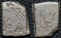Ancient Coins - INDIA, MAURYA: Series VIb punchmarked silver karshapana, GH 570.