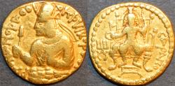 Ancient Coins - INDIA, Kushan: Huvishka Gold dinar, Serapis reverse. VERY RARE and CHOICE!
