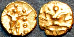 Ancient Coins - INDIA, Kadambas of Nagarkhanda: Anonymous Gold fanam, Lakshmi reverse. VERY RARE+SUPERB!