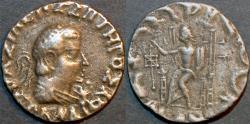 Ancient Coins - Indo-Greek: Hermaios base AR (billon) tetradrachm, posthumous issue