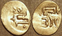 Ancient Coins - INDIA, EASTERN GANGAS, temp. Bhanudeva III (1352-78) Gold fanam, Year 25. RARE & SUPERB!