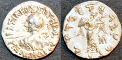 Ancient Coins - INDIA, INDO-GREEK: Menander I Silver drachm, spearthruster type with Athena left holding sloping shield. CHOICE+!