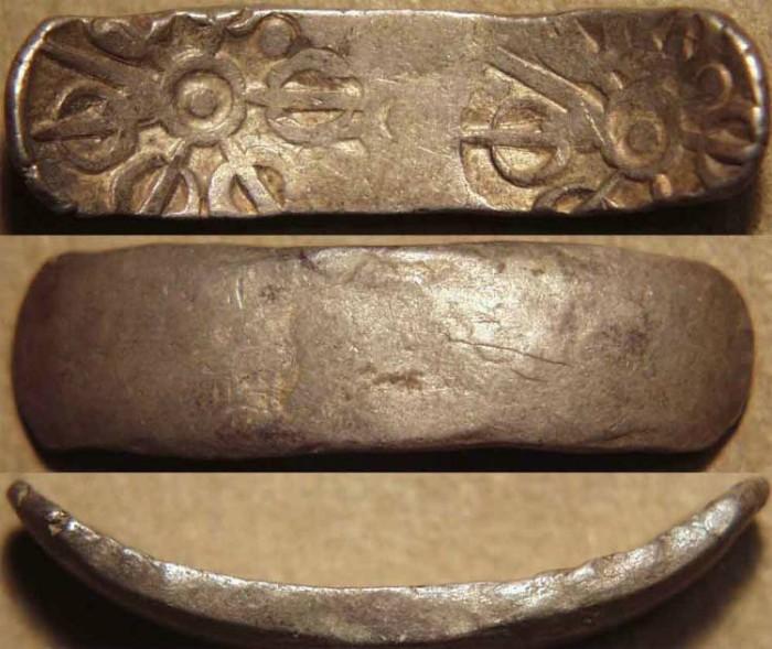 """Ancient Coins - INDIA, GANDHARA janapada, Silver """"bent bar"""" satamana, Type 10. CHOICE!"""