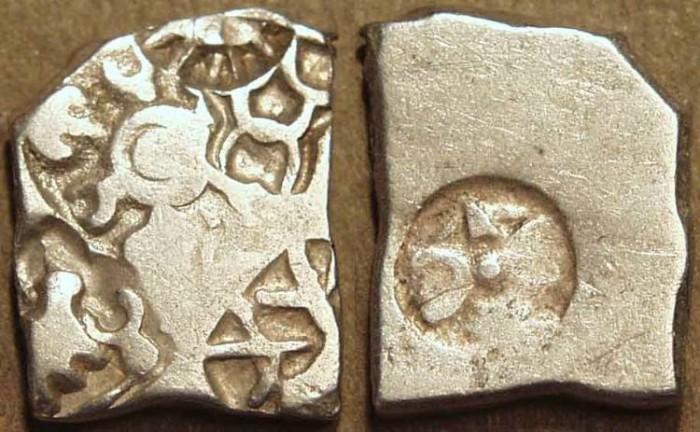 Ancient Coins - INDIA, MAURYA: Series VIb Silver punchmarked karshapana, GH 574. SUPERB!