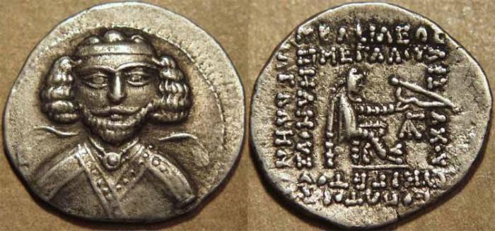 Ancient Coins - PARTHIA, PHRAATES III (70-57 BCE) (DARIUS?) Silver drachm, Ecbatana, Sell 35.2 var. UNLISTED TYPE, RARE & SUPERB!
