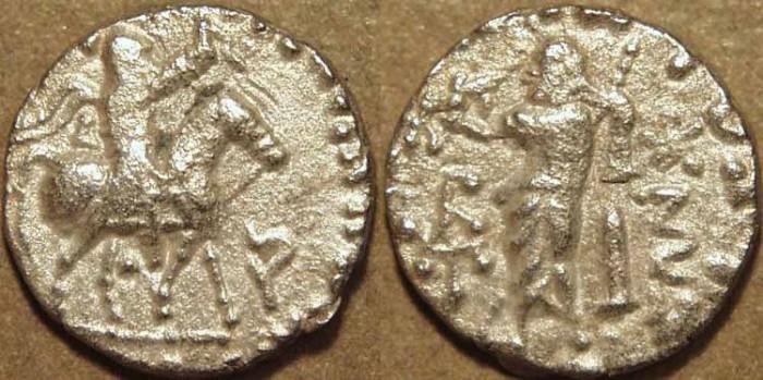 Ancient Coins - Indo-Scythian: Azes II AR drachm. CHOICE!