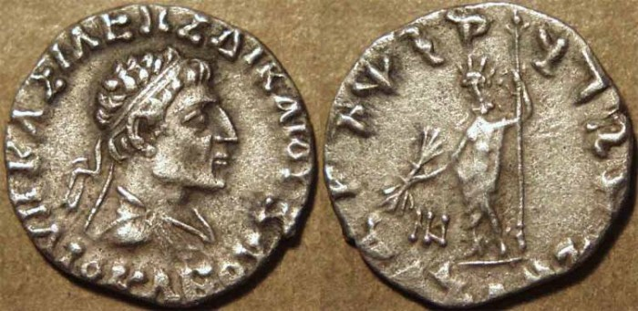 Ancient Coins - INDIA, INDO-GREEK: Heliokles II Silver drachm: Diademed bust type. SCARCE & CHOICE!
